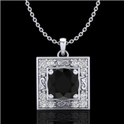 1.02 CTW Fancy Black Diamond Solitaire Art Deco Stud Necklace 18K White Gold - REF-70K9W - 38164