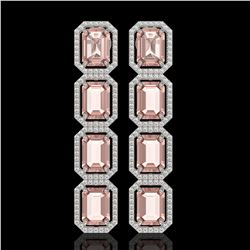 19.81 CTW Morganite & Diamond Halo Earrings 10K White Gold - REF-424K8W - 41582