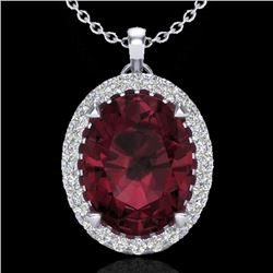 2.75 CTW Garnet & Micro VS/SI Diamond Halo Solitaire Necklace 18K White Gold - REF-48A4X - 20590