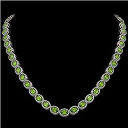 31.1 CTW Peridot & Diamond Halo Necklace 10K White Gold - REF-554A8X - 40427