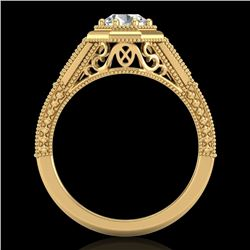 0.84 CTW VS/SI Diamond Solitaire Art Deco Ring 18K Yellow Gold - REF-236T4M - 37093
