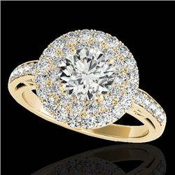 2.25 CTW H-SI/I Certified Diamond Solitaire Halo Ring 10K Yellow Gold - REF-218Y2K - 34204