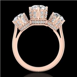 3.06 CTW VS/SI Diamond Solitaire Art Deco 3 Stone Ring 18K Rose Gold - REF-585A8X - 36849