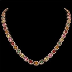 31.96 CTW Multi Color Sapphire & Diamond Halo Necklace 10K Rose Gold - REF-674H4A - 40449