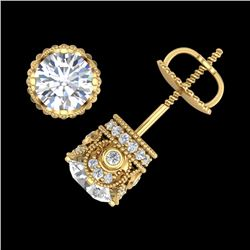 1.85 CTW VS/SI Diamond Solitaire Art Deco Stud Earrings 18K Yellow Gold - REF-261K8W - 36859
