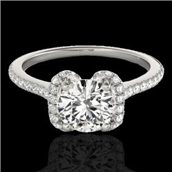 1.33 CTW H-SI/I Certified Diamond Solitaire Halo Ring 10K White Gold - REF-163M5H - 33289