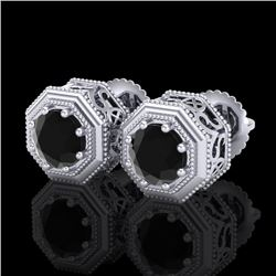 1.07 CTW Fancy Black Diamond Solitaire Art Deco Stud Earrings 18K White Gold - REF-72W8F - 37933
