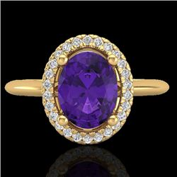 1.75 CTW Amethyst & Micro VS/SI Diamond Ring Solitaire Halo 18K Yellow Gold - REF-43T6M - 20999