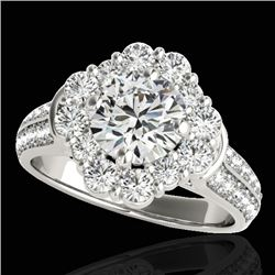 2.16 CTW H-SI/I Certified Diamond Solitaire Halo Ring 10K White Gold - REF-208T2M - 33949