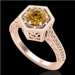 0.77 CTW Intense Fancy Yellow Diamond Engagement Art Deco Ring 18K Rose Gold - REF-130M9H - 37505