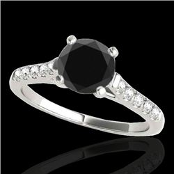 1.2 CTW Certified VS Black Diamond Solitaire Ring 10K White Gold - REF-48A2X - 34973
