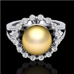 0.83 Ct Micro Pave VS/SI Diamond & Golden Pearl Halo Ring 18K White Gold - REF-85Y6K - 20702