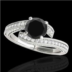 2 CTW Certified VS Black Diamond Bypass Solitaire Ring 10K White Gold - REF-93H6A - 35134