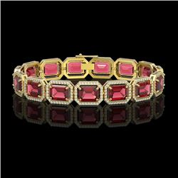 36.51 CTW Tourmaline & Diamond Halo Bracelet 10K Yellow Gold - REF-537A5X - 41542