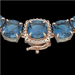 87 CTW London Blue Topaz & VS/SI Diamond Halo Micro Necklace 14K Rose Gold - REF-317Y6K - 23368