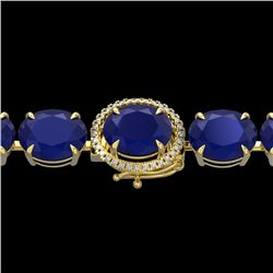 76 CTW Sapphire & Micro Pave VS/SI Diamond Halo Bracelet 14K Yellow Gold - REF-317Y3K - 22278
