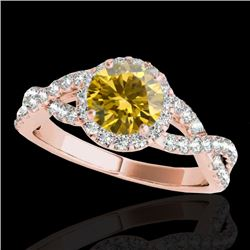 1.54 CTW Certified Si/I Fancy Intense Yellow Diamond Solitaire Halo Ring 10K Rose Gold - REF-170X4T
