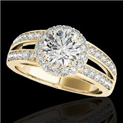 1.6 CTW H-SI/I Certified Diamond Solitaire Halo Ring 10K Yellow Gold - REF-180N2Y - 34249