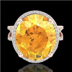 10 CTW Citrine & Micro Pave VS/SI Diamond Halo Ring 14K Rose Gold - REF-70T9M - 20957