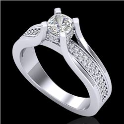 1.01 CTW Cushion VS/SI Diamond Solitaire Micro Pave Ring 18K White Gold - REF-200K2W - 37160