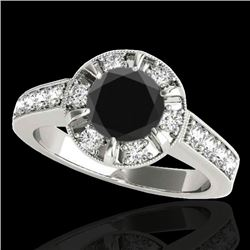 2 CTW Certified VS Black Diamond Solitaire Halo Ring 10K White Gold - REF-91A3X - 34489