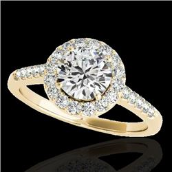 2 CTW H-SI/I Certified Diamond Solitaire Halo Ring 10K Yellow Gold - REF-362K2W - 33492