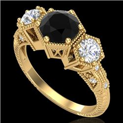1.66 CTW Fancy Black Diamond Solitaire Art Deco 3 Stone Ring 18K Yellow Gold - REF-123T3M - 38054