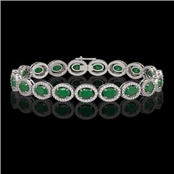 15.2 CTW Emerald & Diamond Halo Bracelet 10K White Gold - REF-255F3N - 40451