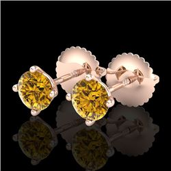 0.65 CTW Intense Fancy Yellow Diamond Art Deco Stud Earrings 18K Rose Gold - REF-81A8X - 38226