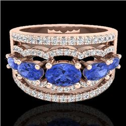 2.25 CTW Tanzanite & Micro Pave VS/SI Diamond Designer Ring 10K Rose Gold - REF-80K2W - 20806