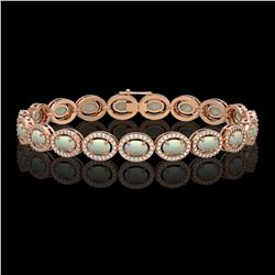 9.5 CTW Opal & Diamond Halo Bracelet 10K Rose Gold - REF-251H8A - 40467