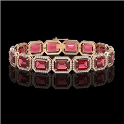 36.51 CTW Tourmaline & Diamond Halo Bracelet 10K Rose Gold - REF-537H5A - 41541