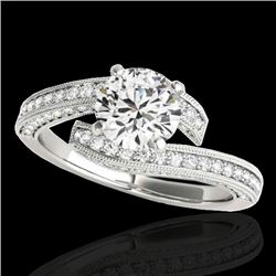 1.75 CTW H-SI/I Certified Diamond Bypass Solitaire Ring 10K White Gold - REF-232T8M - 35129