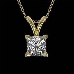 0.50 CTW Certified VS/SI Quality Princess Diamond Necklace 10K Yellow Gold - REF-79H5A - 33168
