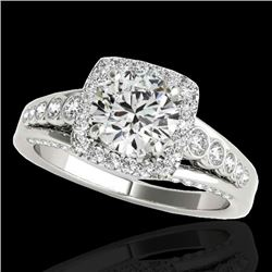 2 CTW H-SI/I Certified Diamond Solitaire Halo Ring 10K White Gold - REF-309M3H - 34319