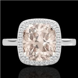 3 CTW Morganite & Micro Pave VS/SI Diamond Halo Solitaire Ring 18K White Gold - REF-72M2H - 22846