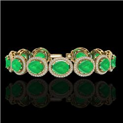 30 CTW Emerald & Micro Pave VS/SI Diamond Bracelet 10K Yellow Gold - REF-481W8F - 22687