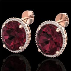 20 CTW Garnet & Micro Pave VS/SI Diamond Halo Earrings 14K Rose Gold - REF-94N5Y - 20272
