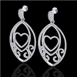 3.20 CTW Micro Pave VS/SI Diamond Designer Heart Earrings 18K White Gold - REF-252H2A - 22584