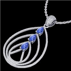 2 CTW Tanzanite & Micro VS/SI Diamond Designer Necklace 18K White Gold - REF-138A2X - 22473