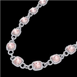 49 CTW Morganite & Micro VS/SI Diamond Eternity Necklace 14K White Gold - REF-1150H9A - 23046