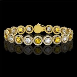 13.76 CTW Canary Yellow & White Diamond Designer Bracelet 18K Yellow Gold - REF-1948W4F - 42601