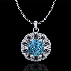 1.2 CTW Fancy Intense Blue Diamond Art Deco Stud Necklace 18K White Gold - REF-118A2X - 37740