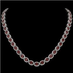 32.82 CTW Garnet & Diamond Halo Necklace 10K White Gold - REF-501M3H - 40445