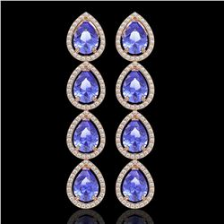 11.2 CTW Tanzanite & Diamond Halo Earrings 10K Rose Gold - REF-286K9W - 41292