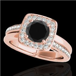 1.33 CTW Certified VS Black Diamond Solitaire Halo Ring 10K Rose Gold - REF-70A2X - 34154