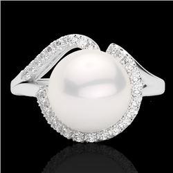 0.27 CTW VS/SI Diamond & White Pearl Designer Ring 18K White Gold - REF-50X8T - 22622