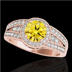 1.5 CTW Certified Si/I Fancy Intense Yellow Diamond Solitaire Halo Ring 10K Rose Gold - REF-180T2M -