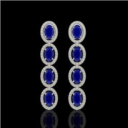 6.47 CTW Sapphire & Diamond Halo Earrings 10K White Gold - REF-109T5M - 40508