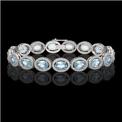 18.38 CTW Aquamarine & Diamond Halo Bracelet 10K White Gold - REF-320W9F - 40625